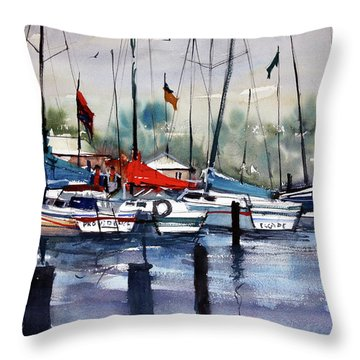 Menominee Marina Throw Pillow by Ryan Radke