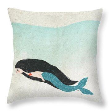 Mermaid Throw Pillow by Carolina Parada