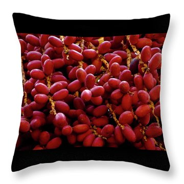 Throw Pillow featuring the photograph Mexican Fan Palm, Washingtonia Robusta Fruits, Red Nature Pattern by Frank Tschakert