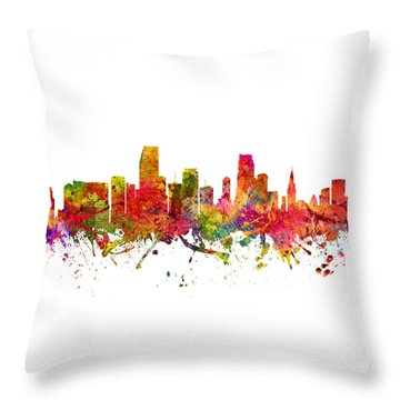 Miami Cityscape 08 Throw Pillow by Aged Pixel