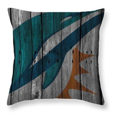 Miami Dolphins Wood Fence Throw Pillow by Joe Hamilton