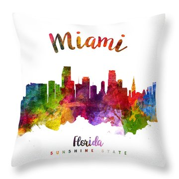 Miami Florida 23 Throw Pillow by Aged Pixel