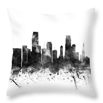 Miami Florida Cityscape 02bw Throw Pillow by Aged Pixel