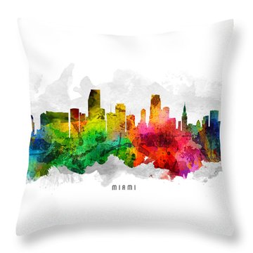 Miami Florida Cityscape 12 Throw Pillow by Aged Pixel