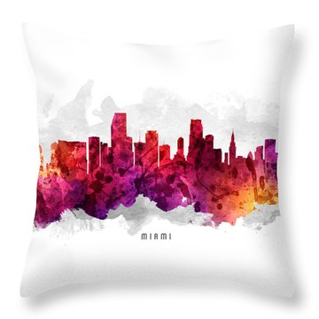 Miami Florida Cityscape 14 Throw Pillow by Aged Pixel