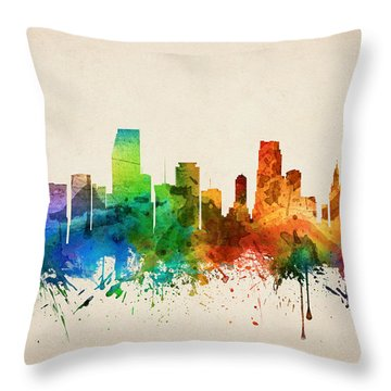 Miami Florida Skyline 05 Throw Pillow by Aged Pixel