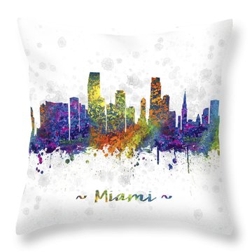 Miami Florida Skyline Color 03sq Throw Pillow by Aged Pixel
