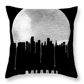 Miami Skyline Black Throw Pillow by Naxart Studio