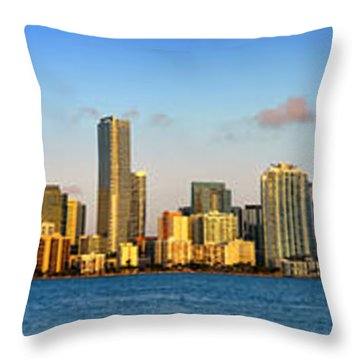 Miami Skyline In Morning Daytime Panorama Throw Pillow by Jon Holiday