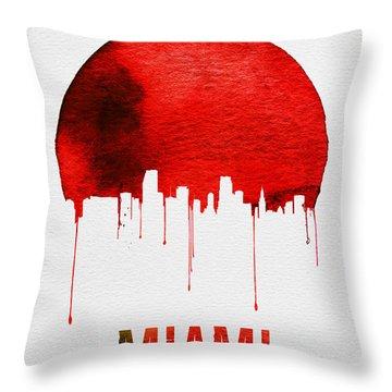 Miami Skyline Red Throw Pillow by Naxart Studio
