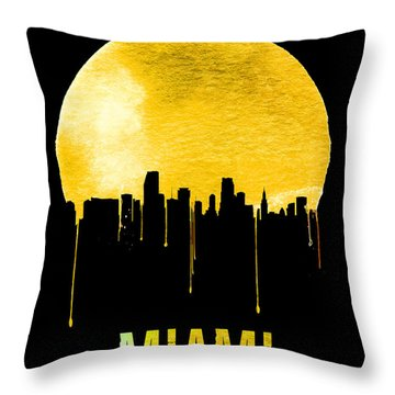 Miami Skyline Yellow Throw Pillow by Naxart Studio