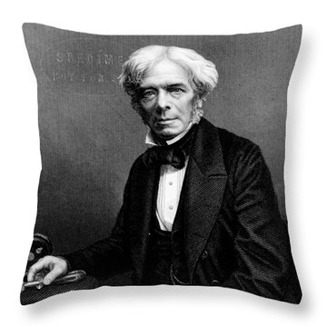 Michael Faraday, English Physicist Throw Pillow by Photo Researchers