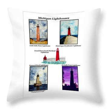 Michigan Lighthouses Collage Throw Pillow by Michael Vigliotti