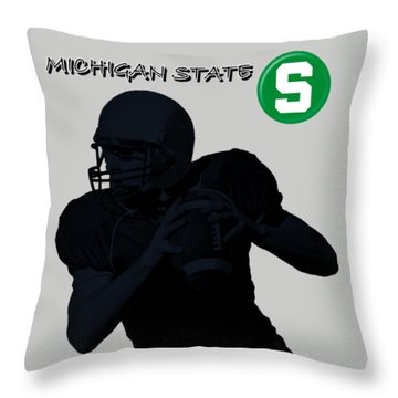 Michigan State Football Throw Pillow by David Dehner