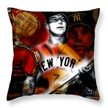 Mickey Mantle Collection Throw Pillow by Marvin Blaine