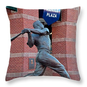 Mickey Mantle Throw Pillow by Frozen in Time Fine Art Photography