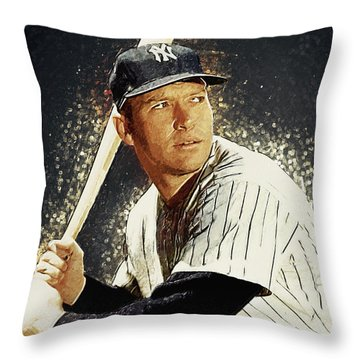 Mickey Mantle Throw Pillow by Taylan Soyturk