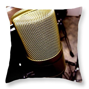 Microphone Throw Pillow by Michael Grubb