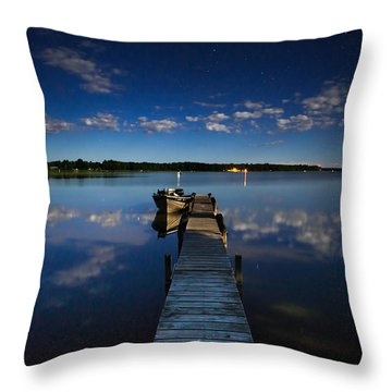 Midnight At Shady Shore On Moose Lake Minnesota Throw Pillow by Alex Blondeau