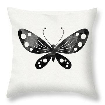 Midnight Butterfly 3- Art By Linda Woods Throw Pillow by Linda Woods