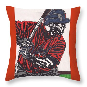 Miguel Caberera 1 Throw Pillow by Jeremiah Colley