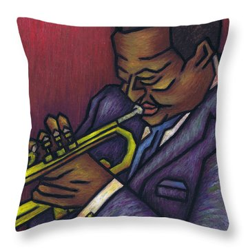 Miles Davis Throw Pillow by Kamil Swiatek