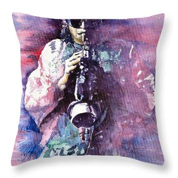Miles Davis Meditation 2 Throw Pillow by Yuriy  Shevchuk
