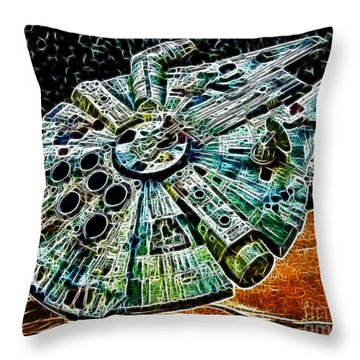 Millenium Falcon Throw Pillow by Paul Ward