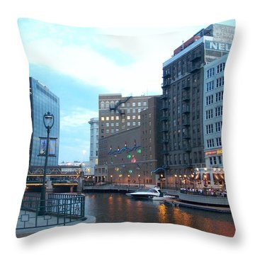 Milwaukee River Walk Throw Pillow by Anita Burgermeister