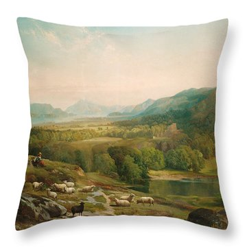 Minding The Flock Throw Pillow by Thomas Moran