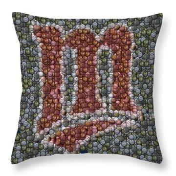 Minnesota Twins Baseball Mosaic Throw Pillow by Paul Van Scott