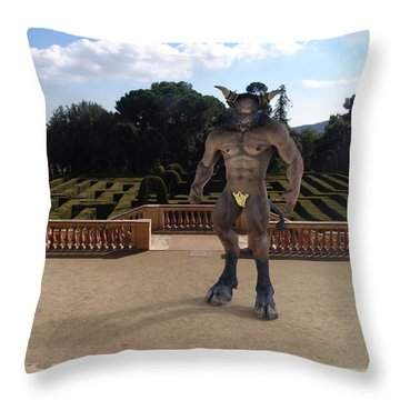Minotaur In The Labyrinth Park Barcelona. Throw Pillow by Joaquin Abella