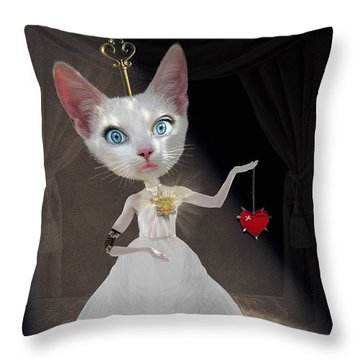 Miss Kitty Throw Pillow by Juli Scalzi