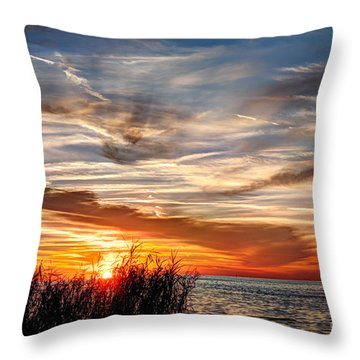 Mississippi Gulf Coast Sunset Throw Pillow by Joan McCool