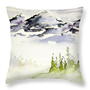 Mist In The Mountains Throw Pillow by Joanne Smoley