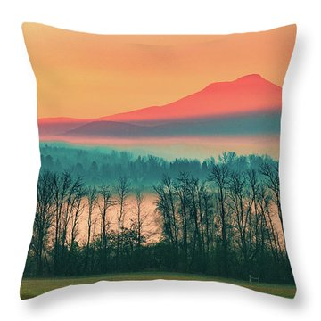 Misty Mountain Sunrise Part 2 Throw Pillow by Alan Brown