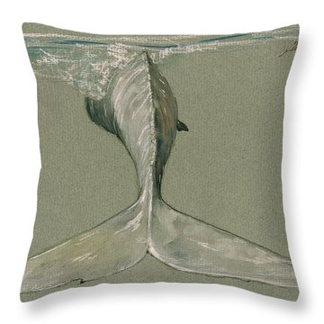 Moby Dick The White Sperm Whale  Throw Pillow by Juan  Bosco