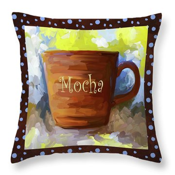 Mocha Coffee Cup With Blue Dots Throw Pillow by Jai Johnson