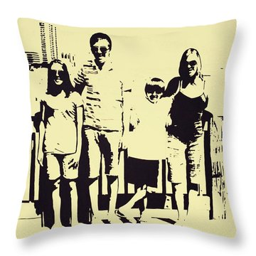 Modern Day Single Mom Family Vacation  Throw Pillow by Sheri Buchheit