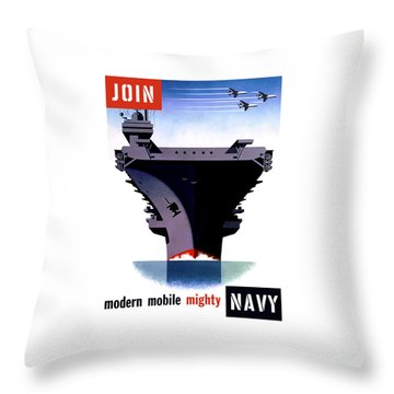 Modern Mobile Mighty Navy Throw Pillow by War Is Hell Store