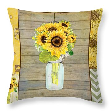 Modern Rustic Country Sunflowers In Mason Jar Throw Pillow by Audrey Jeanne Roberts