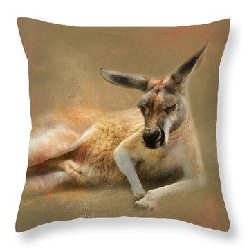 Monday Morning Drowsies Kangaroo Art Throw Pillow by Jai Johnson