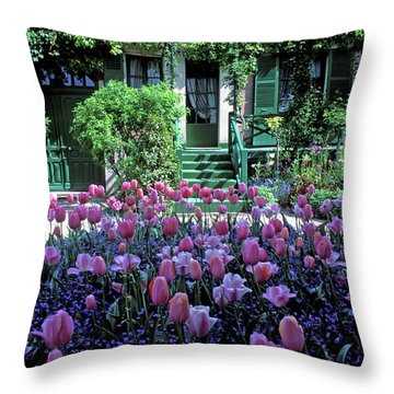 Monet's House With Tulips Throw Pillow by Kathy Yates