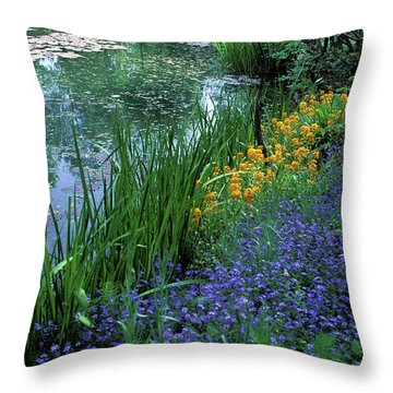 Monet's Lily Pond Throw Pillow by Kathy Yates