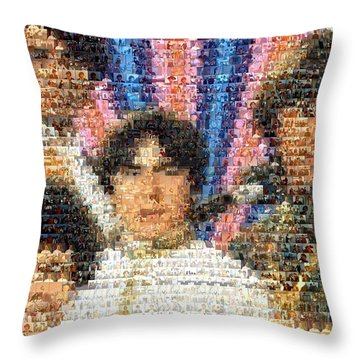 Monkees Mosaic Throw Pillow by Paul Van Scott