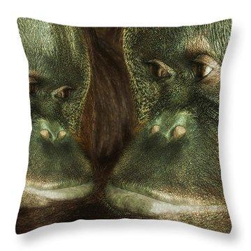 Monkey Love Throw Pillow by Jack Zulli