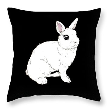 Monochrome Rabbit Throw Pillow by Katrina Davis