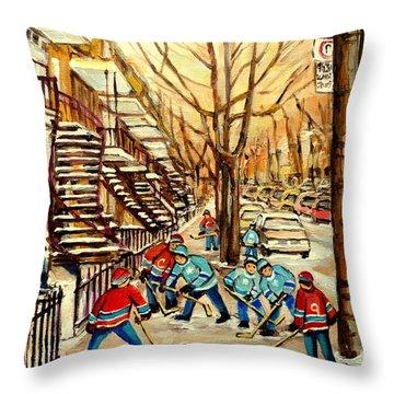 Montreal Street Hockey Paintings Throw Pillow by Carole Spandau