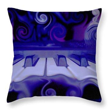 Moody Blues Throw Pillow by Linda Sannuti