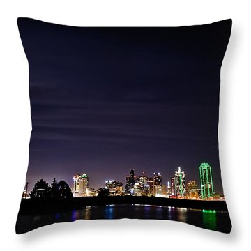 Moon Over Dallas Throw Pillow by Charles Dobbs